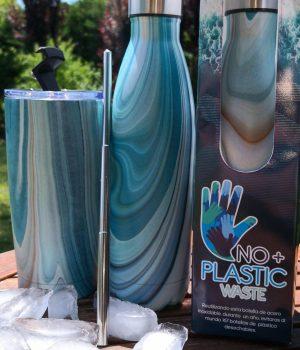Set botella y Vaso azul